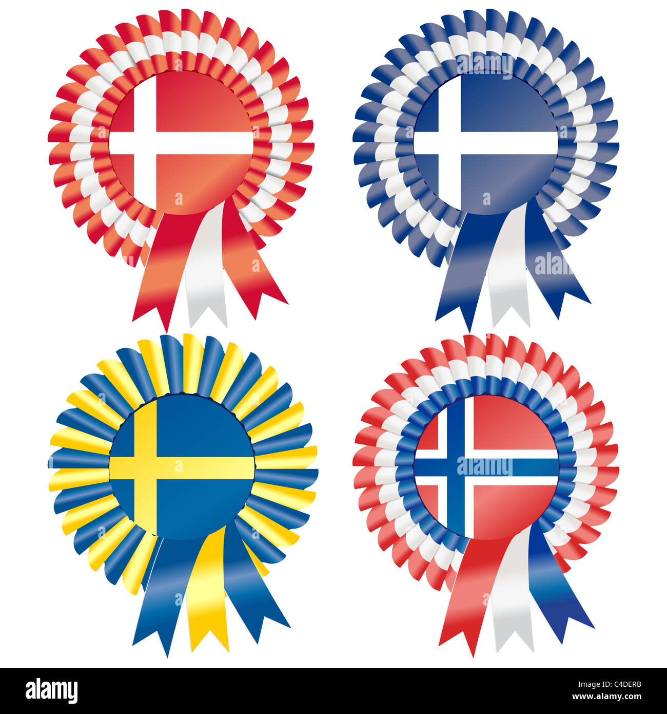 Rosettes to represent Northern European countries, including Denmark, Finland, Norway and Sweden - Stock Image