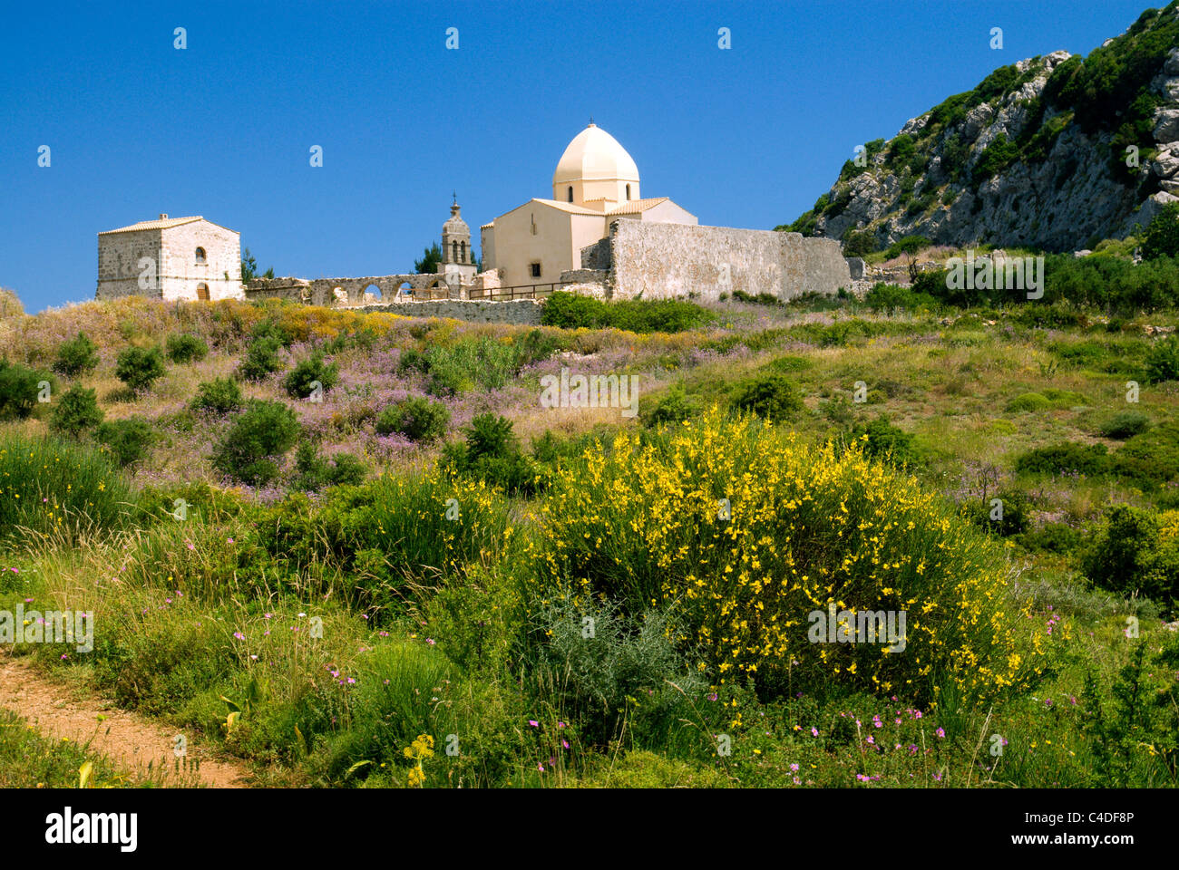 virgin skopiotissas monastry, mount skopos, zante/zakynthos, ionian islands, greece. - Stock Image