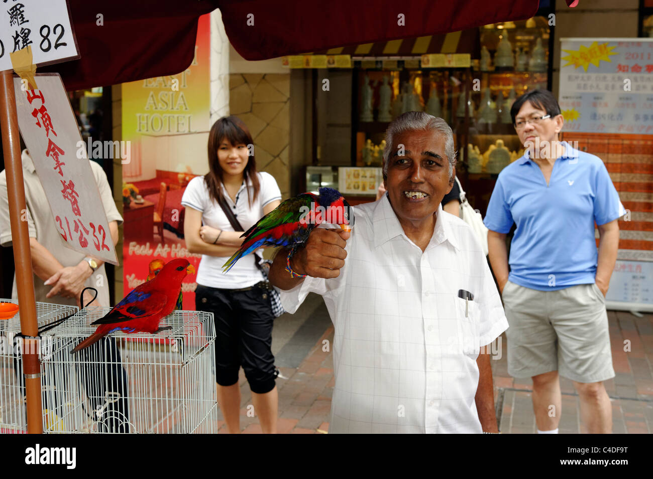 Exotic birds on sale in Bugis area of Singapore Stock Photo
