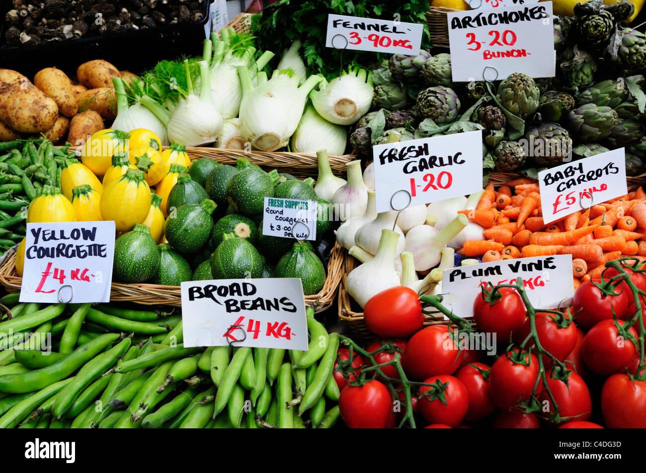 Vegetable Stall Display at Borough Market, Southwark, London, England, Uk Stock Photo
