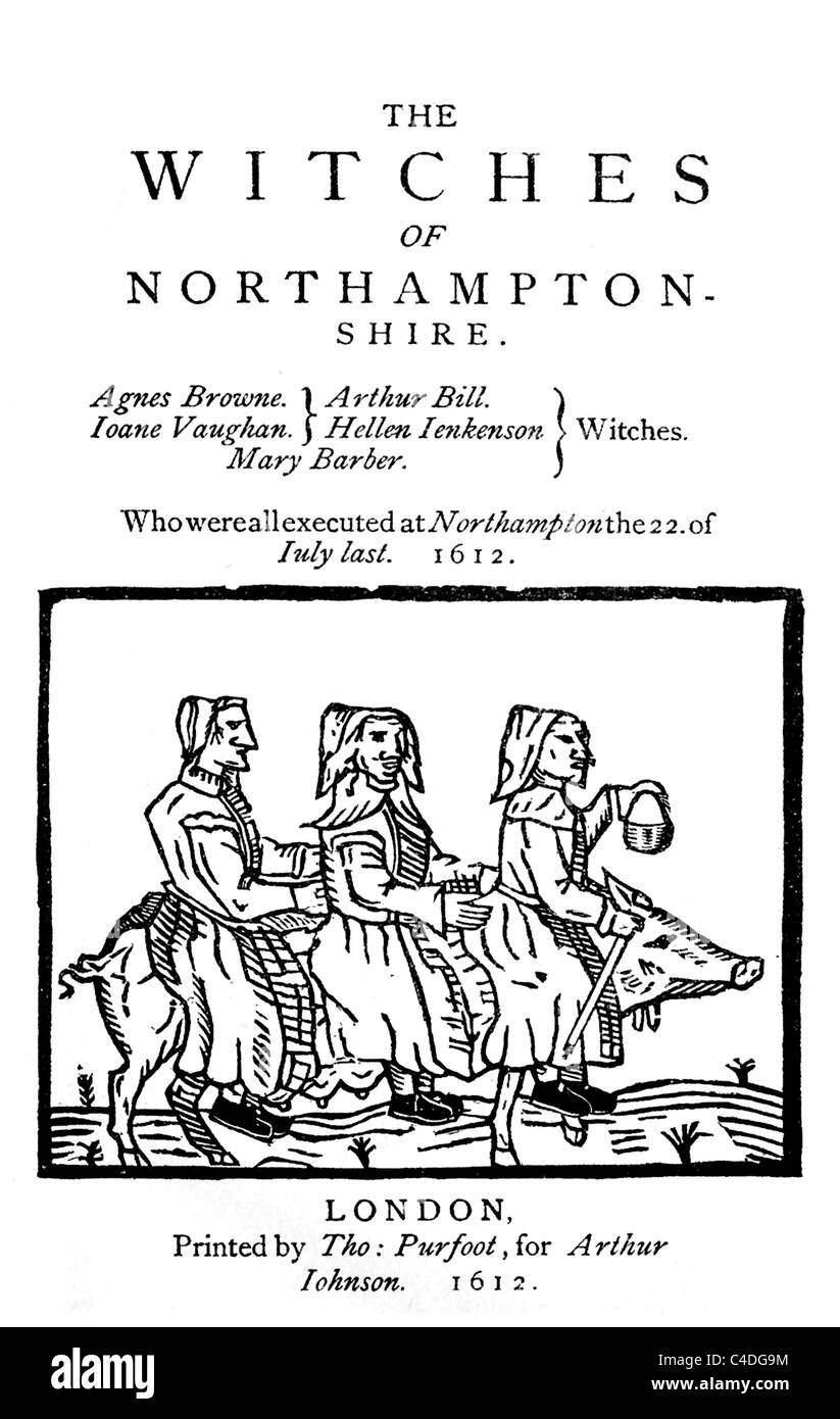 Cover of a pamphlet of 1612 entitled 'The Witches of Northamptonshire' ; Black and White Illustration; - Stock Image
