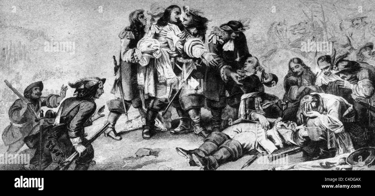 The Death of Marshal Turenne, Henri de la Tour d'Auvergne, Vicomte de Turenne; Black and White Illustration; - Stock Image