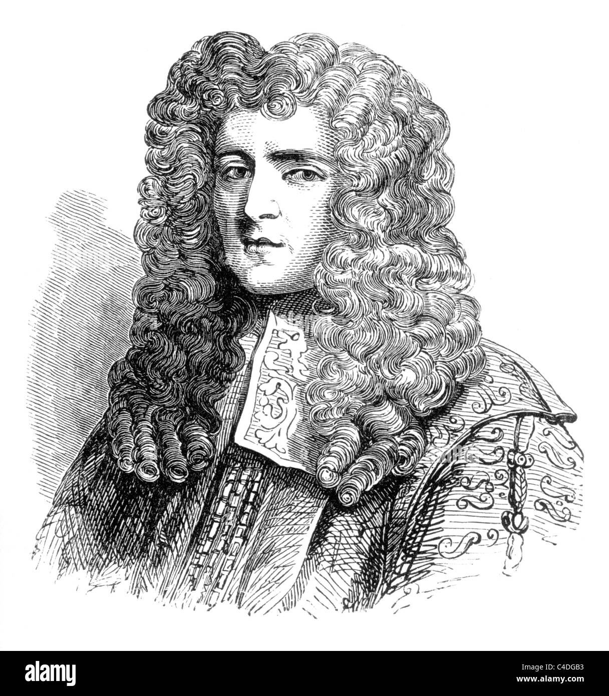 Anthony Ashley Cooper, 1st Earl of Shaftesbury, English Politician and founder of the Whig Party; Black and White - Stock Image