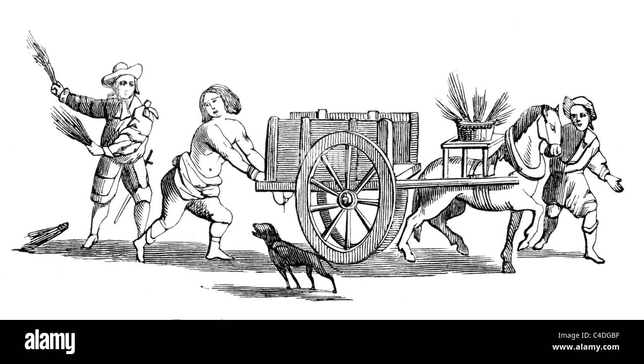 Titus Oates Whipped at the Cart's Tail; Black and White Illustration; Stock Photo