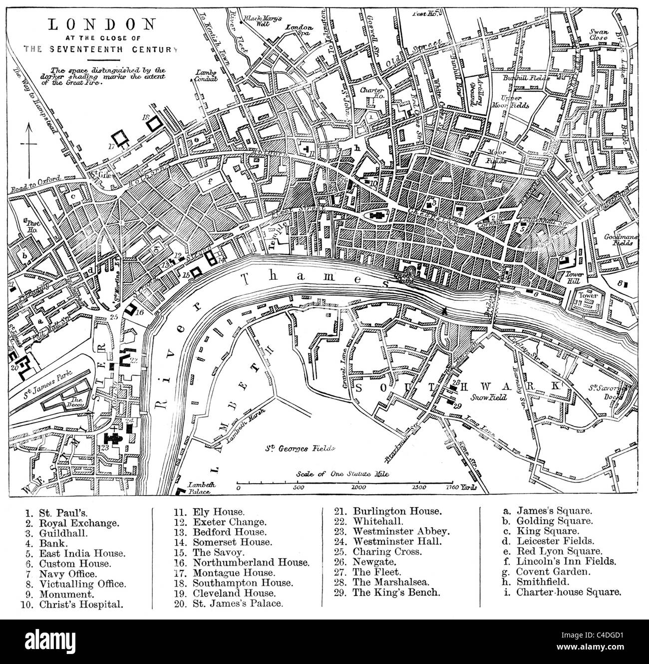 Annotated Map of London in the Seventeenth Century, showing the extent of the Great Fire of 1666; Black and White - Stock Image