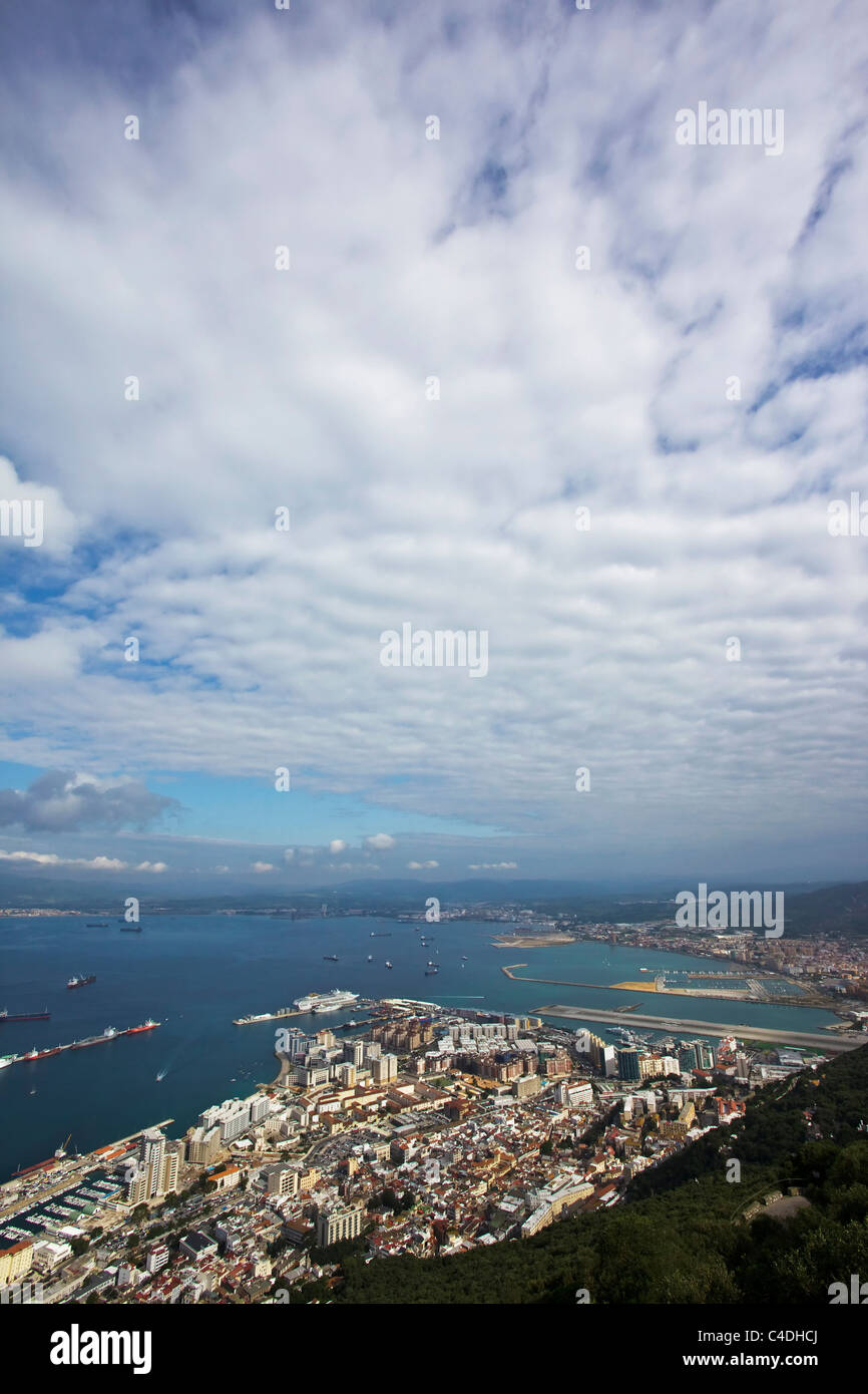 Gibraltar town viewed from the Rock of Gibraltar viewpoint - Stock Image