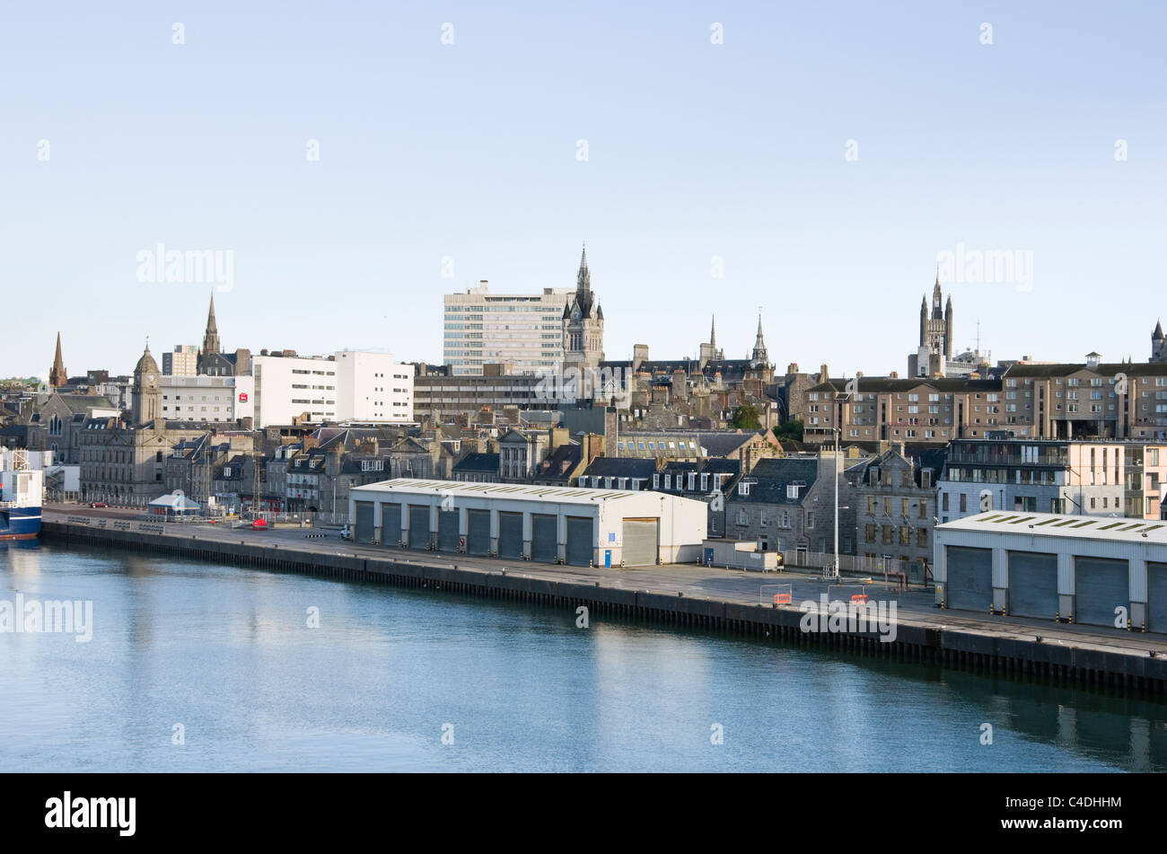 City centre skyline and waterfront from the port of Aberdeen, Aberdeenshire, Scotland, UK, Great Britain. - Stock Image