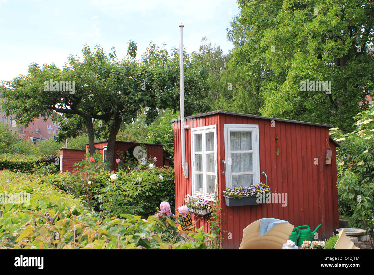 Allotment garden cottages in Copenhagen - Stock Image