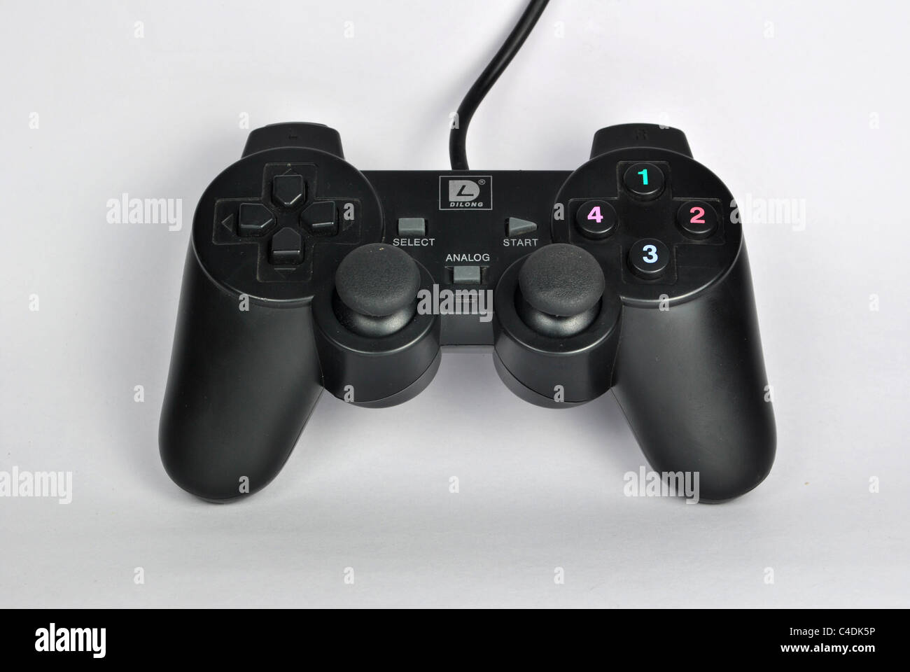 gamepad also called joypad or control pad a type of game controller held in the hand  on white background - Stock Image