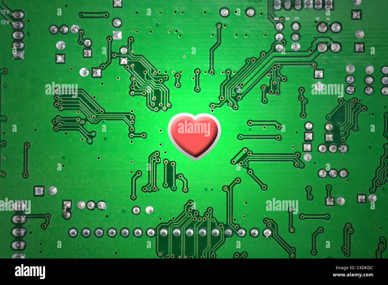 red heart and circuit board, online love concept, close up Stock ...