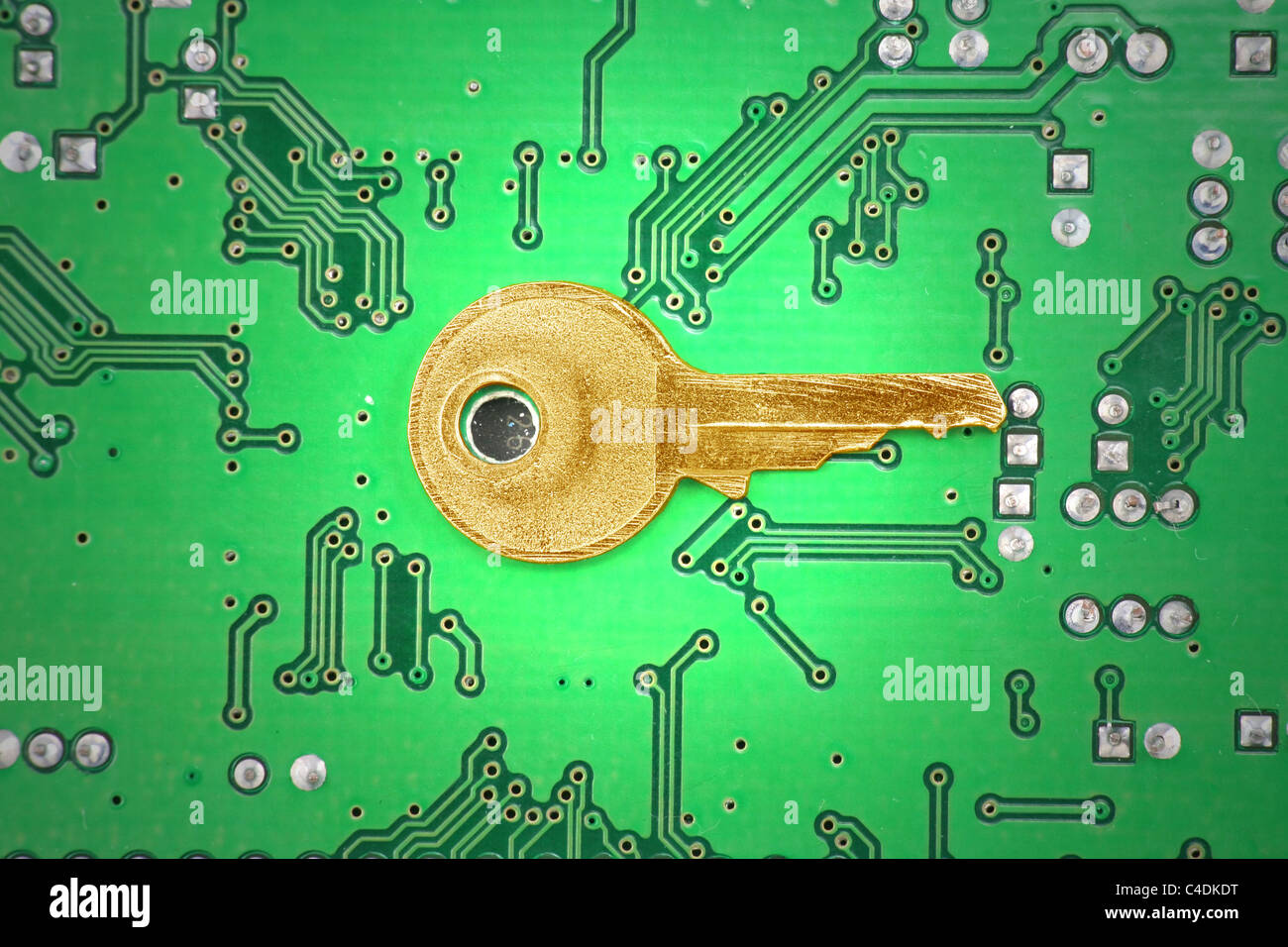 Circuit Board and golden key, concept of online business success ...