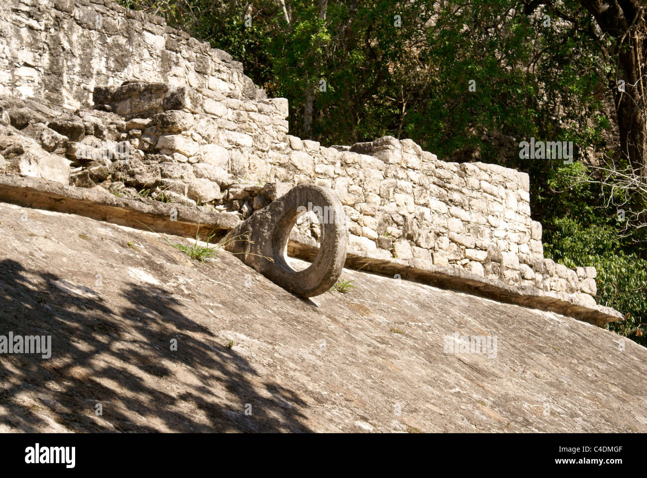 Mayan ball court ring in the Coba Group at the ruins of Coba, Quintana Roo, Mexico - Stock Image