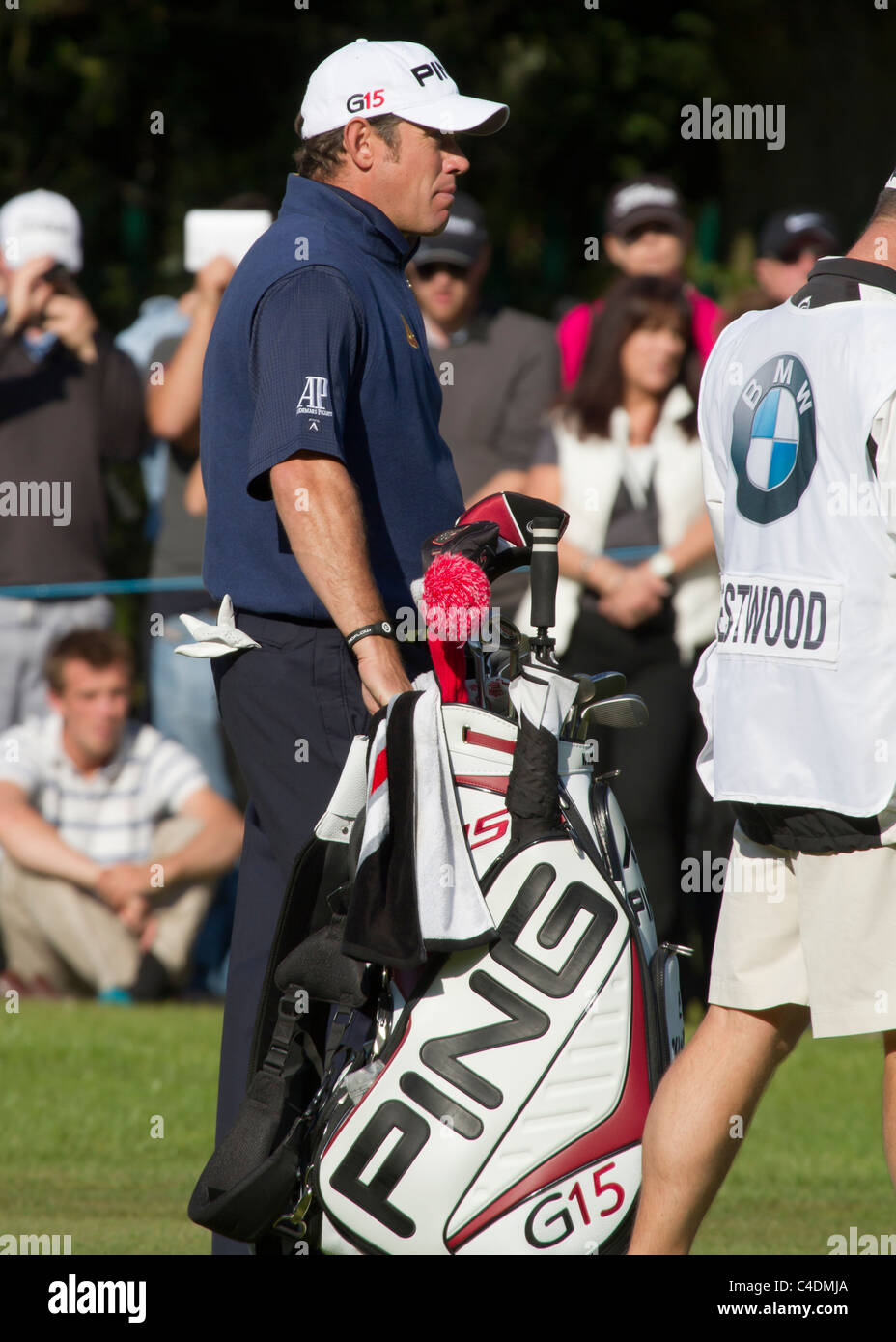 SURRY, ENGLAND - MAY 29: Lee Westwood plays through hole 18 during day four of the BMW PGA Championship on May 29, - Stock Image