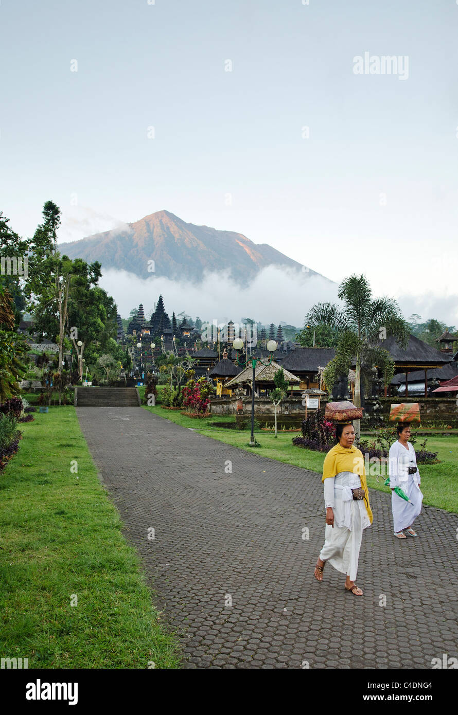 mount agung from besakih temple in bali, indonesia - Stock Image
