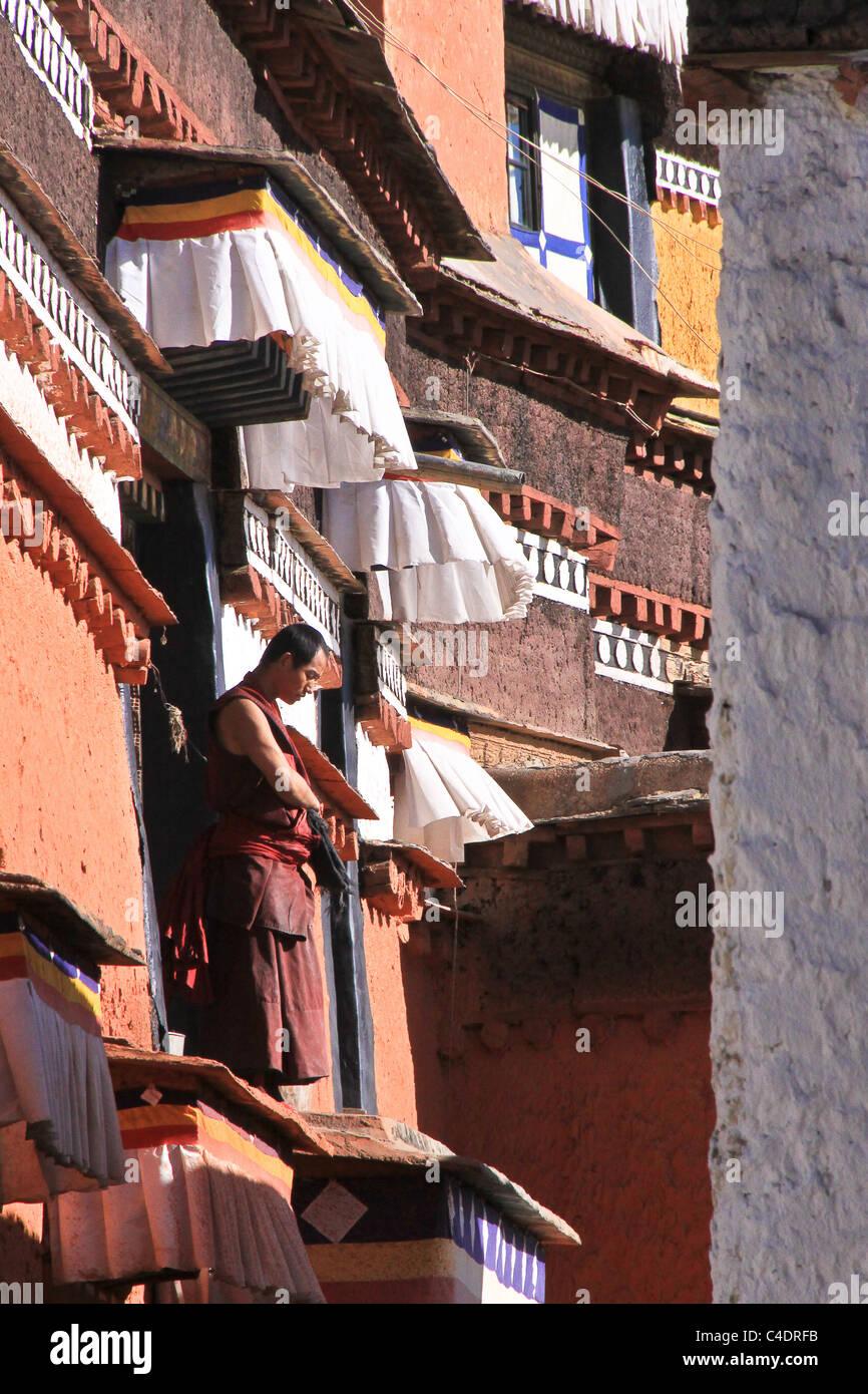 Tibetan Monk, Gyantse Tibet, China Stock Photo