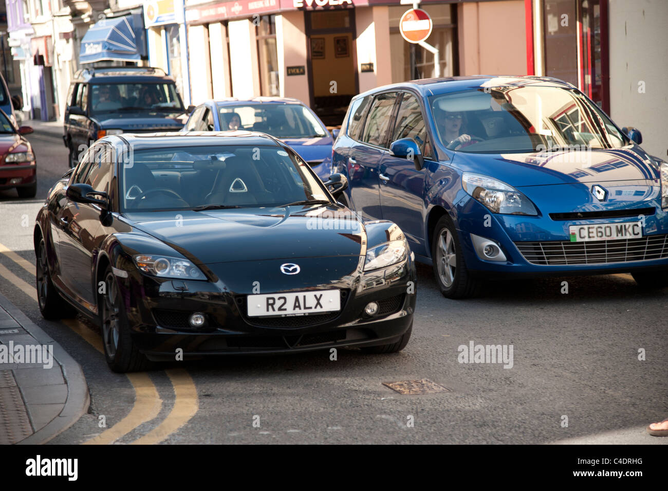 Aberystwyth Ceredigion west Wales - June 9 2011 - cars parked on double yellow lines following the withdrawal of - Stock Image