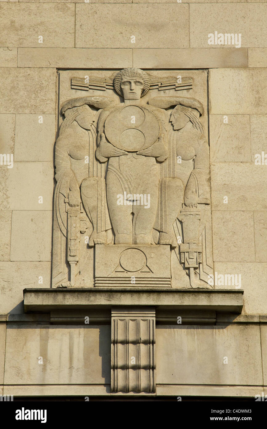 Art Deco relief on ventilation tower, Liverpool Merseyside England ...