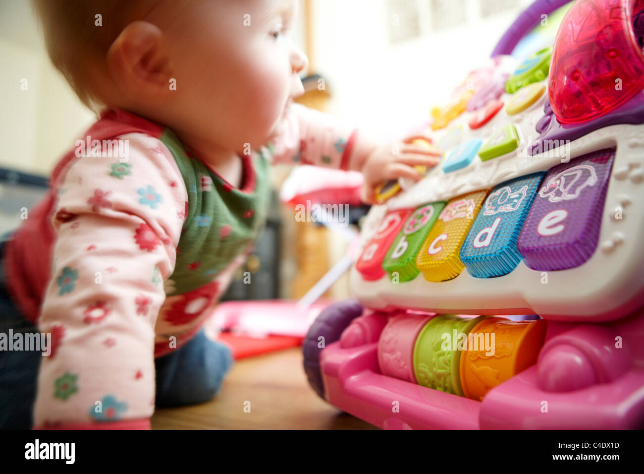 8 Month Old Baby Girl Playing With Toys Stock Photo 37185161 Alamy