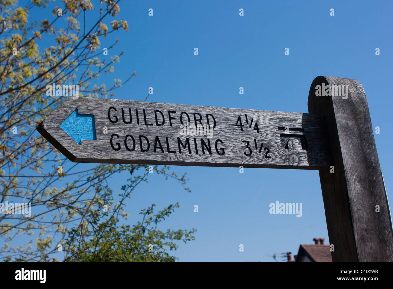 Signpost to Guildford and Godalming - Stock Image
