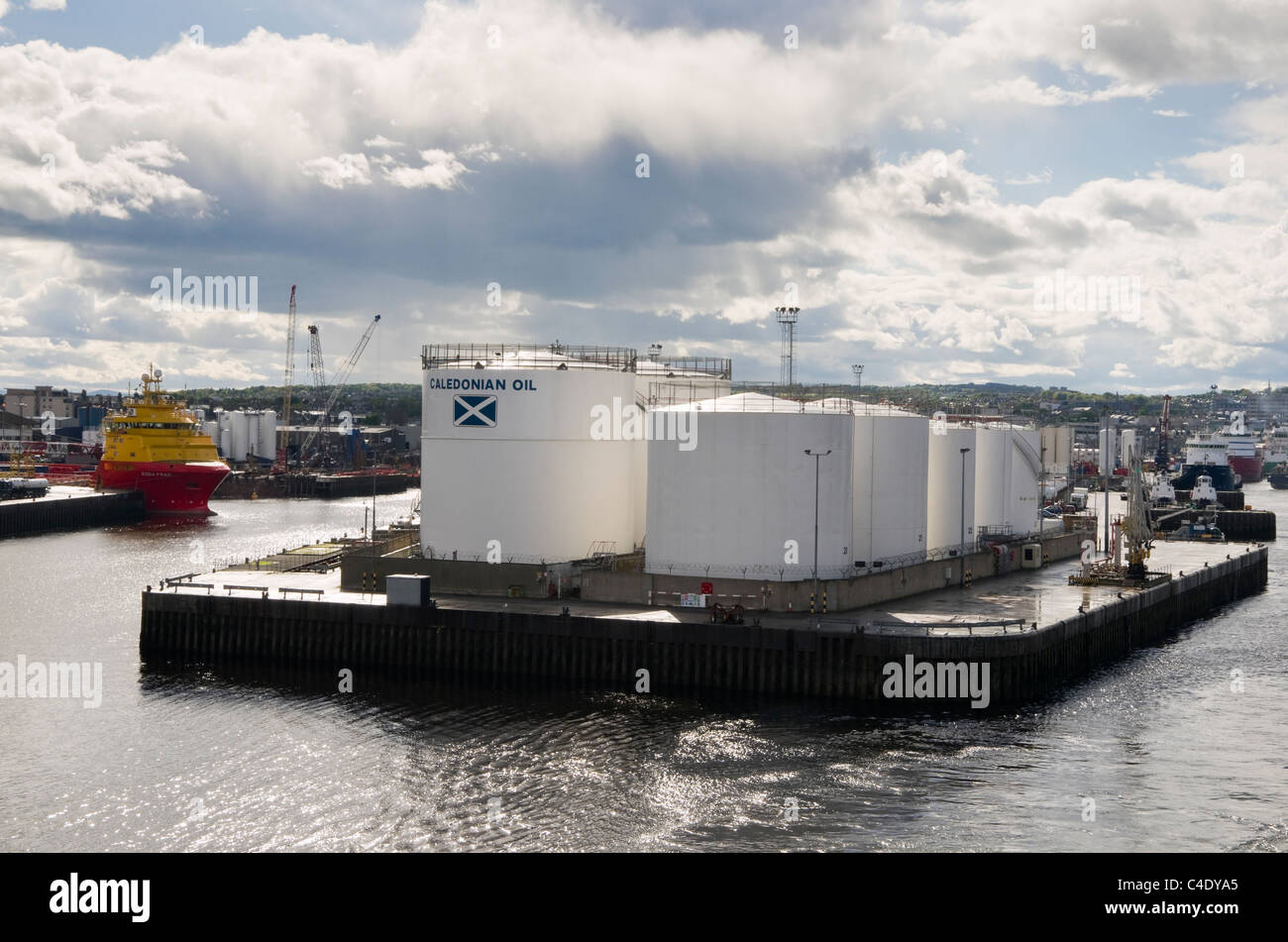 Point Law, Aberdeen, Aberdeenshire, Scotland, UK. Caledonian Oil storage tanks for fuel from offshore North Sea - Stock Image