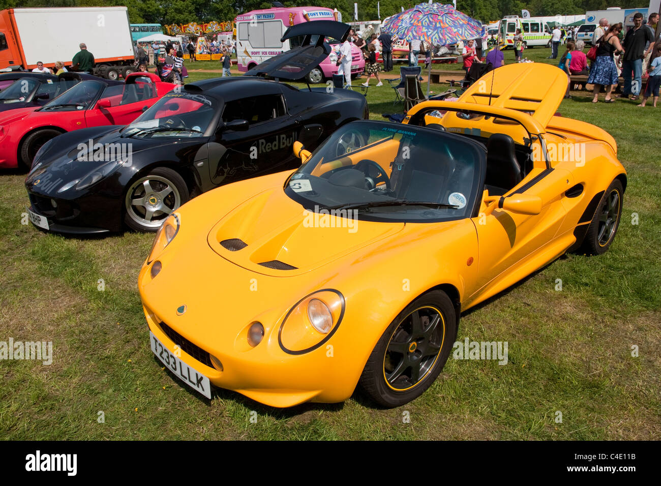 Row Of Lotus Elise Cars On Display At Surrey Heath Show, Frimley Park Lodge,