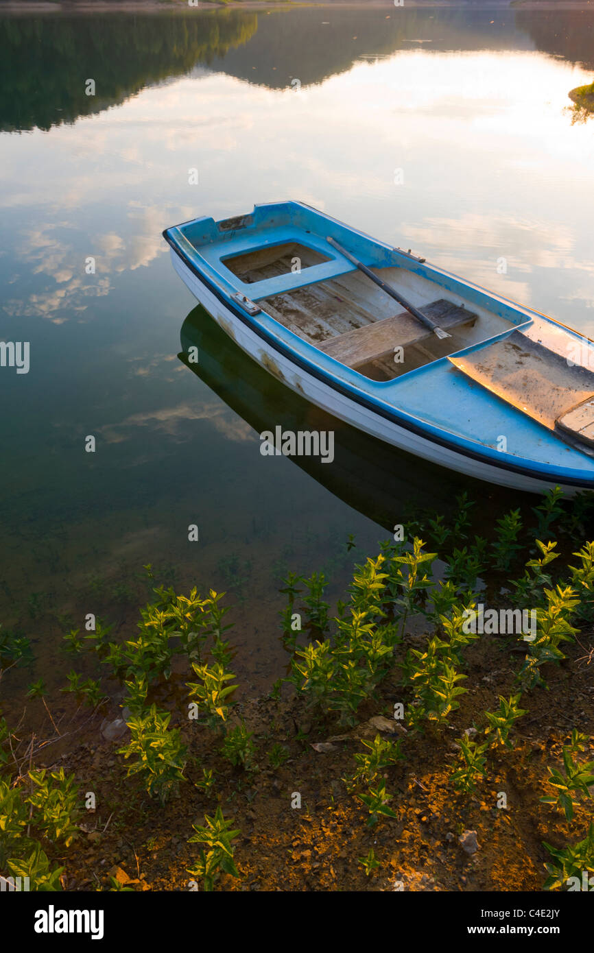 Moored boat, Lokve lake in Gorski Kotar, Croatia Stock Photo