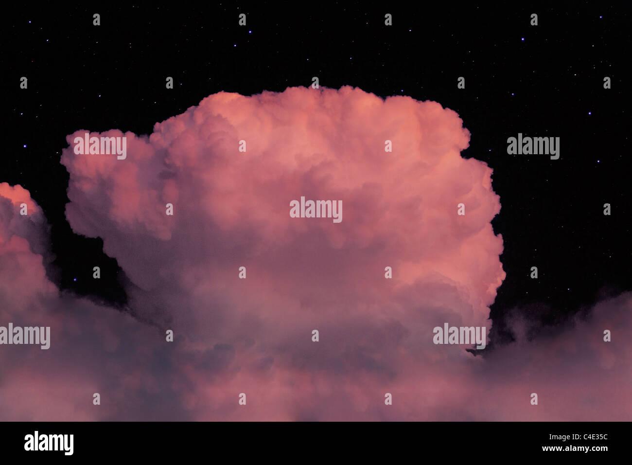 ominous clouds in black sky - Stock Image