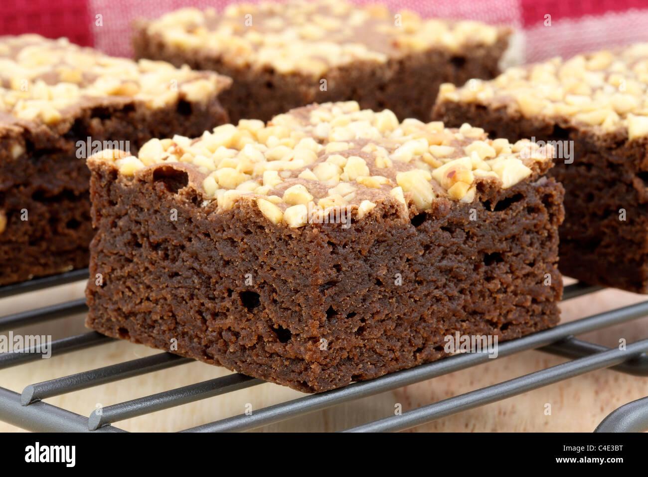 fresh wonderfully moist brownies with a deep fudgy chocolate flavor Stock Photo