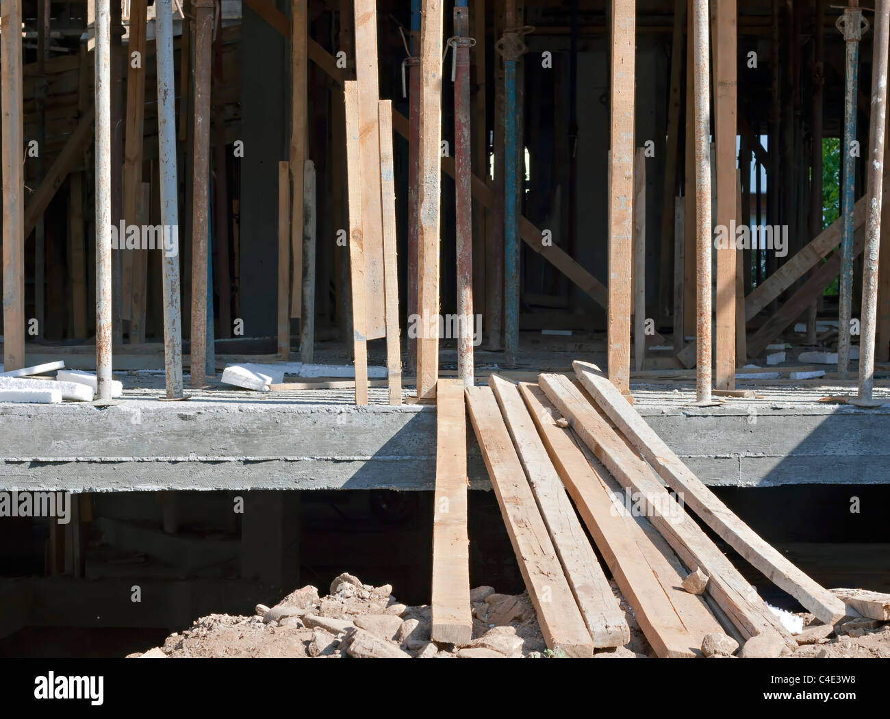 Acrow  props on building under construction - Stock Image