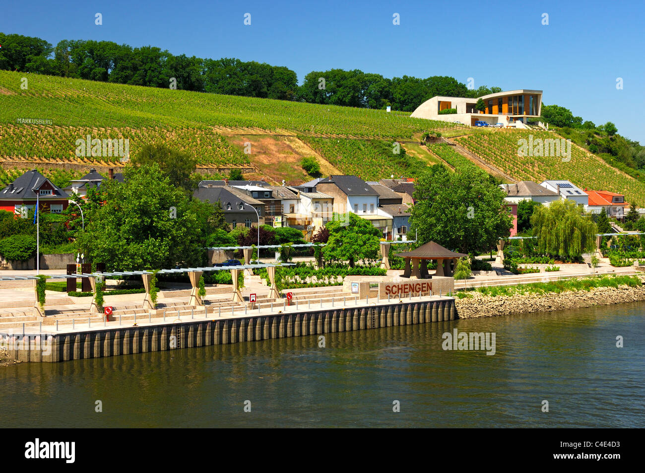 Landing stage and vineyards along the Moselle river in Schengen, Luxembourg - Stock Image