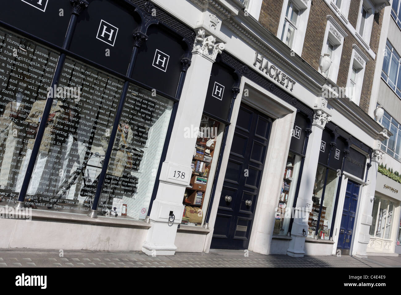 Hackett, the clothing shop for men, viewed here in Sloane Street, London. - Stock Image