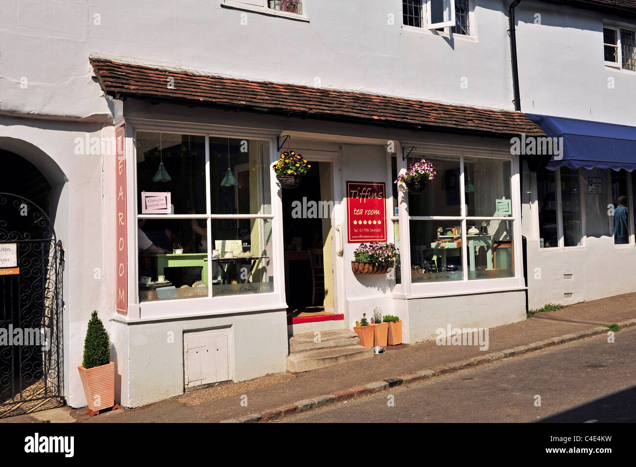 Tearooms along shopping street, Petworth, West Sussex, England, UK, Western Europe. Stock Photo