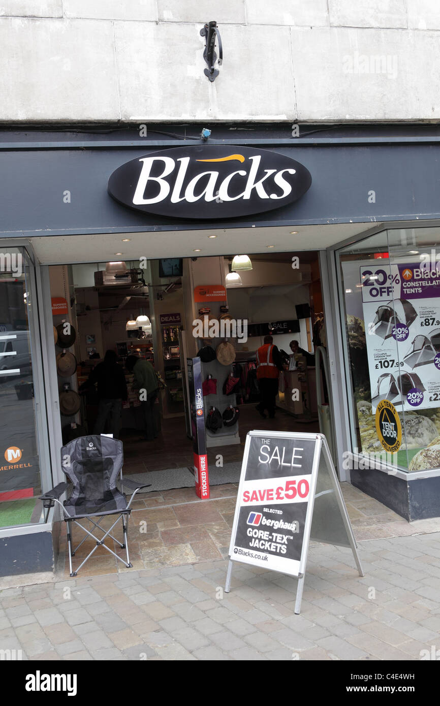 Blacks retail outlet viewed here in Shoplatch, Shrewsbury, England. - Stock Image
