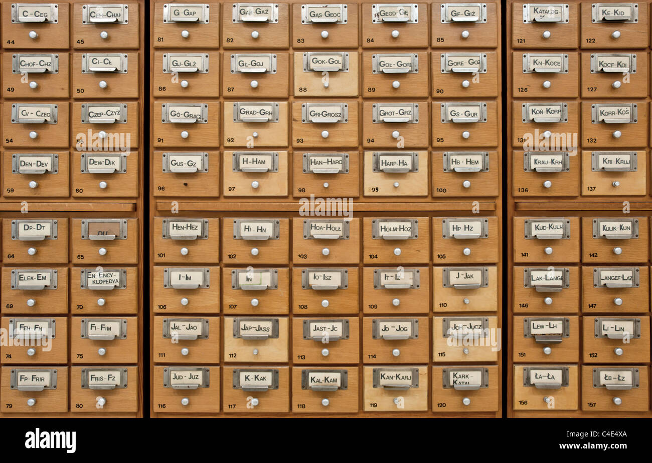 An old card catalogue in a library. All drawers closed - Stock Image