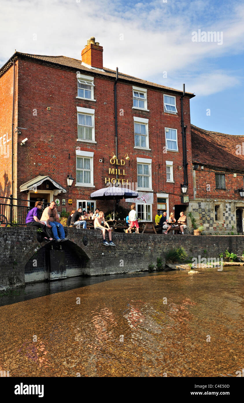 The Old Mill Hotel (The old Harnham mill), Salisbury (New Sarum), Wiltshire, England, UK, Western Europe. Stock Photo