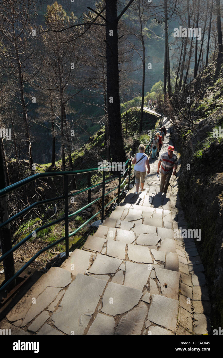 Nuns valley Tourists at Eira do Serrado, Madeira. - Stock Image