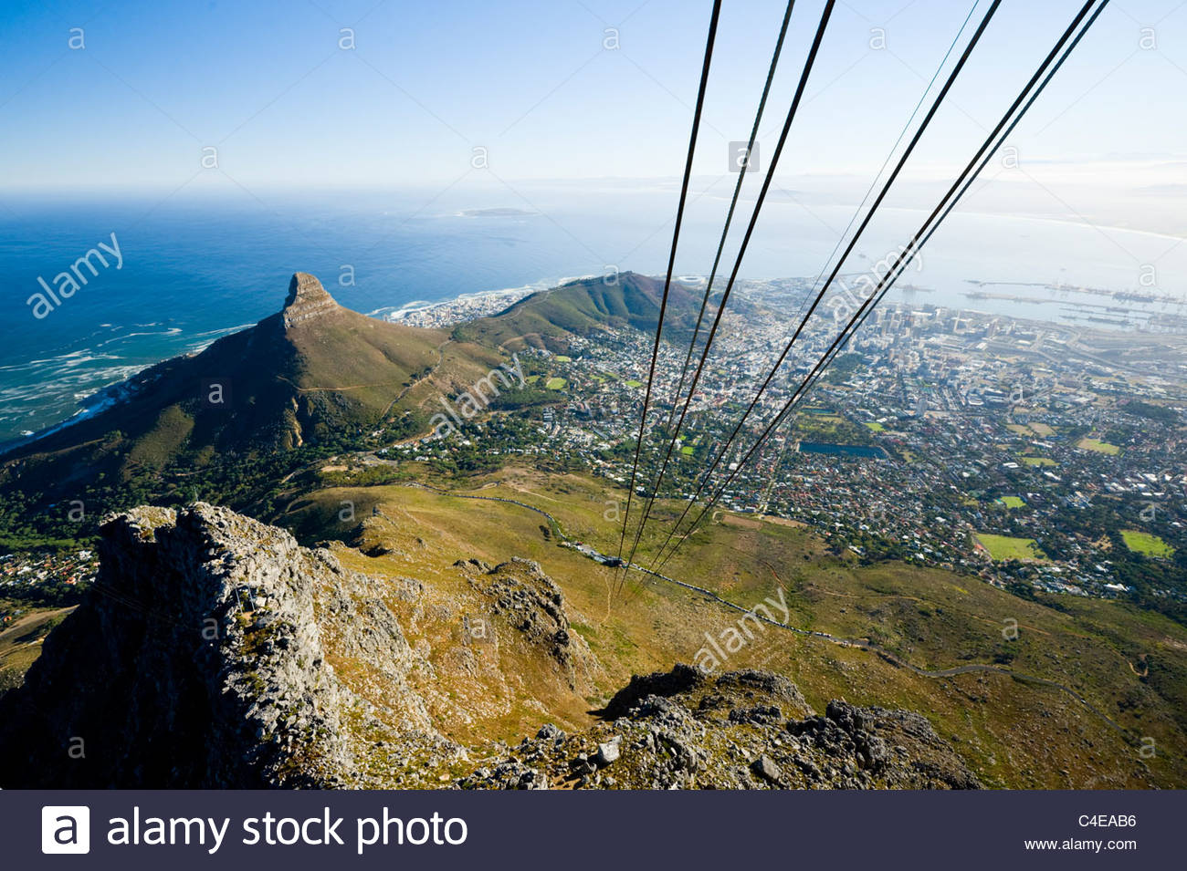 Lion's Head and Cape Town from the cable car up Table Mountain, Cape Town, South Africa. - Stock Image