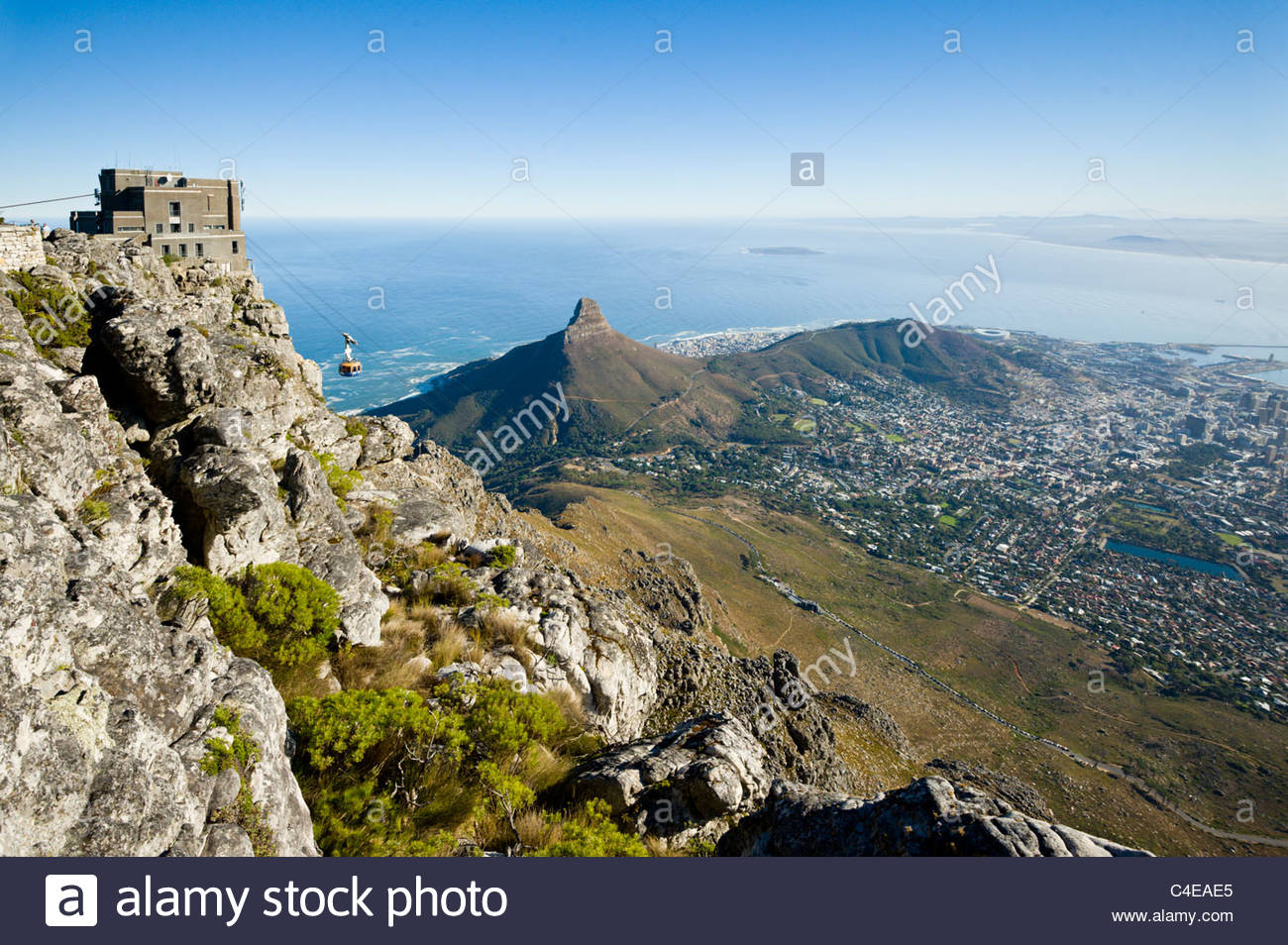 View from Table Mountain over Table Bay and the city, Cape Town, South Africa - Stock Image