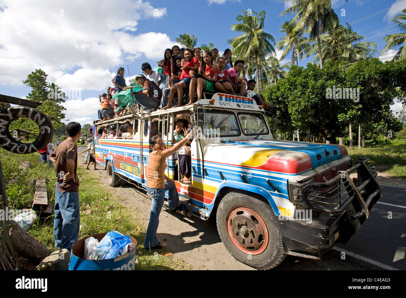 Full occupied bus on Negros island, Visayas, Philippines,Asia - Stock Image
