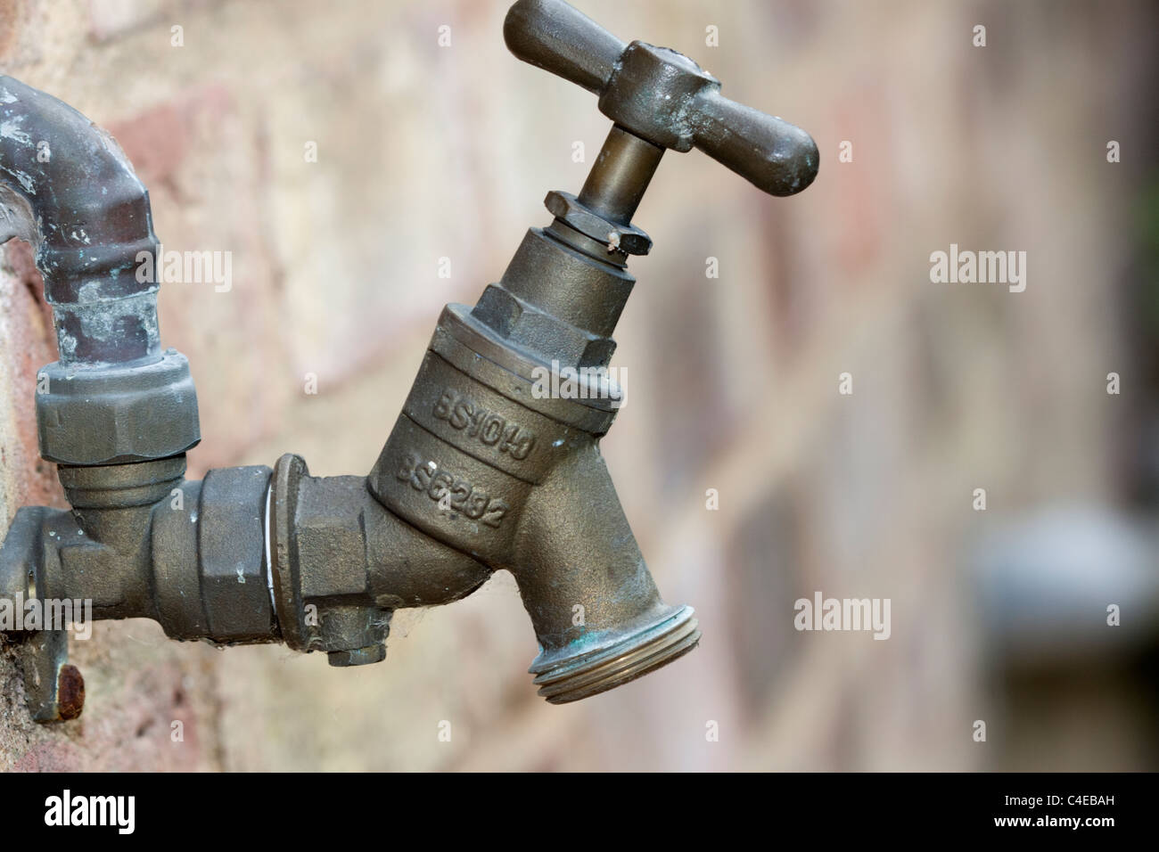 Outside garden tap, turned off - Stock Image