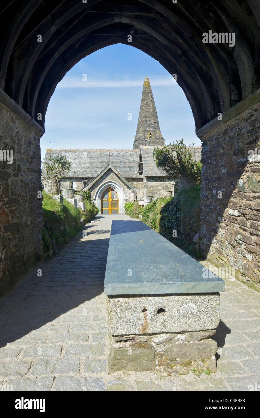 Bier under medieval Lychgate St Enodoc churchyard North Cornwall England UK GB British Isles - Stock Image
