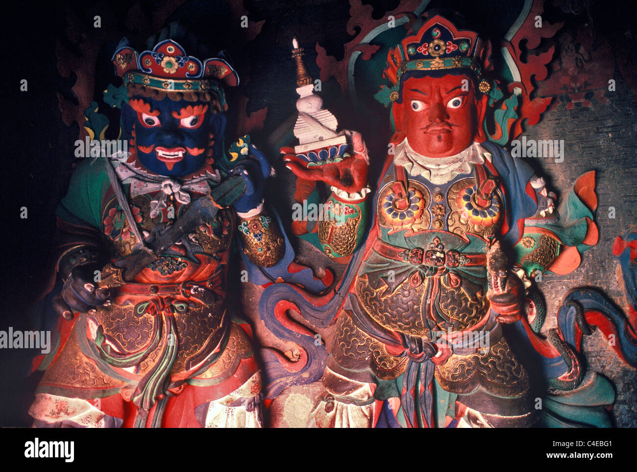 Statues in Chapel, Gyangtse Kumbum. The Kumbum  is a three dimensional mandala, meant to portray the Buddhist cosmos. - Stock Image