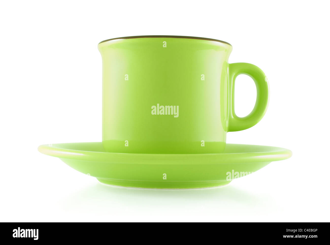 Tea coffee cup on white background - Stock Image