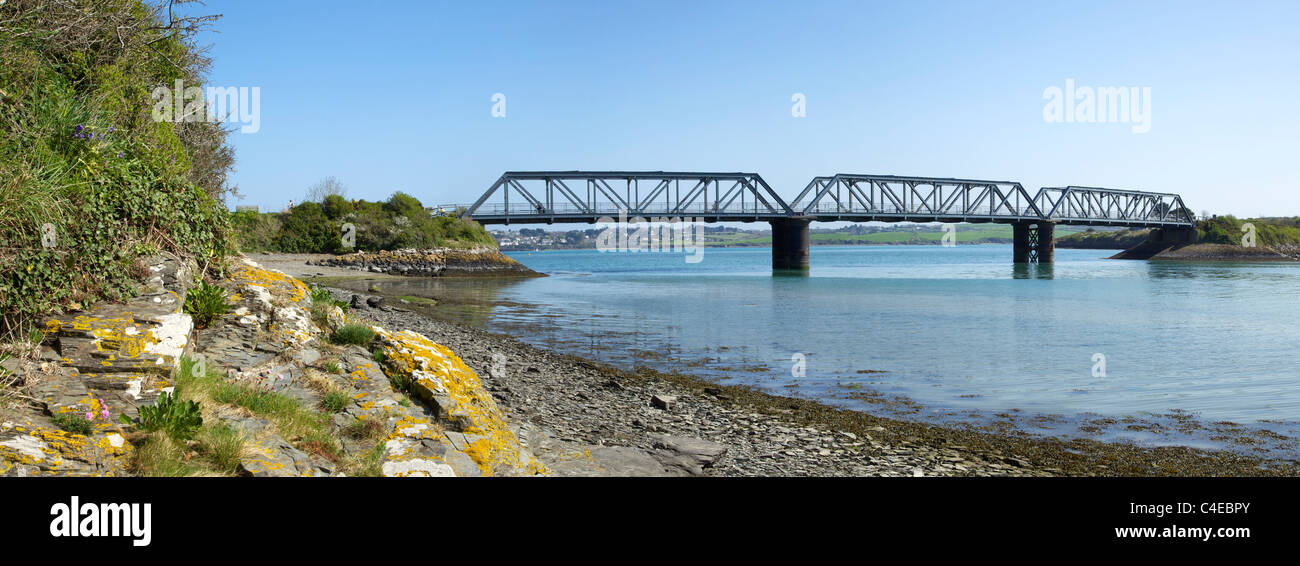 Old railway bridge near Padstow carries Camel Trail cycle path, Camel Estuary, North Cornwall, England, UK, United - Stock Image