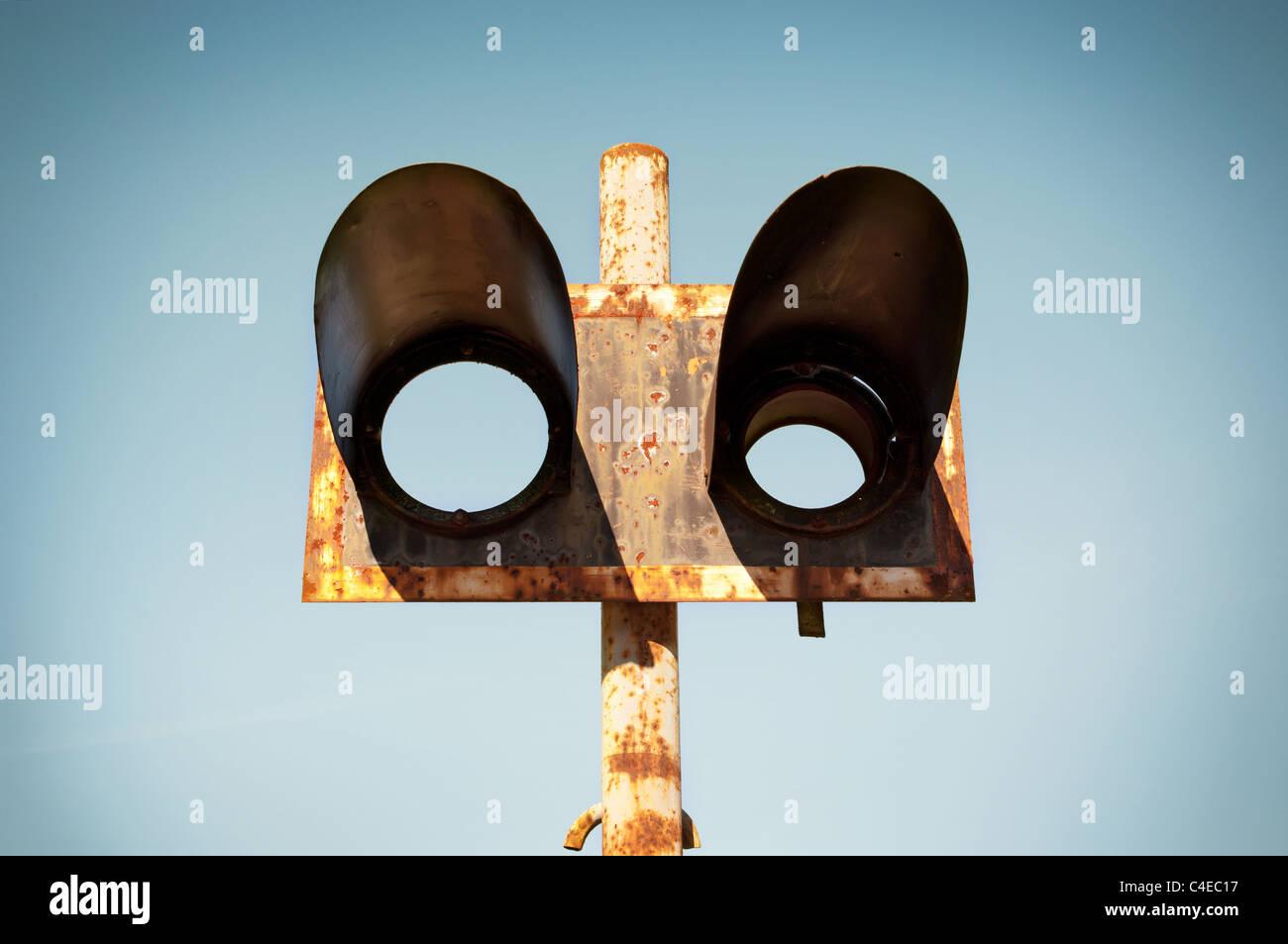 Old damaged semaphore - Stock Image