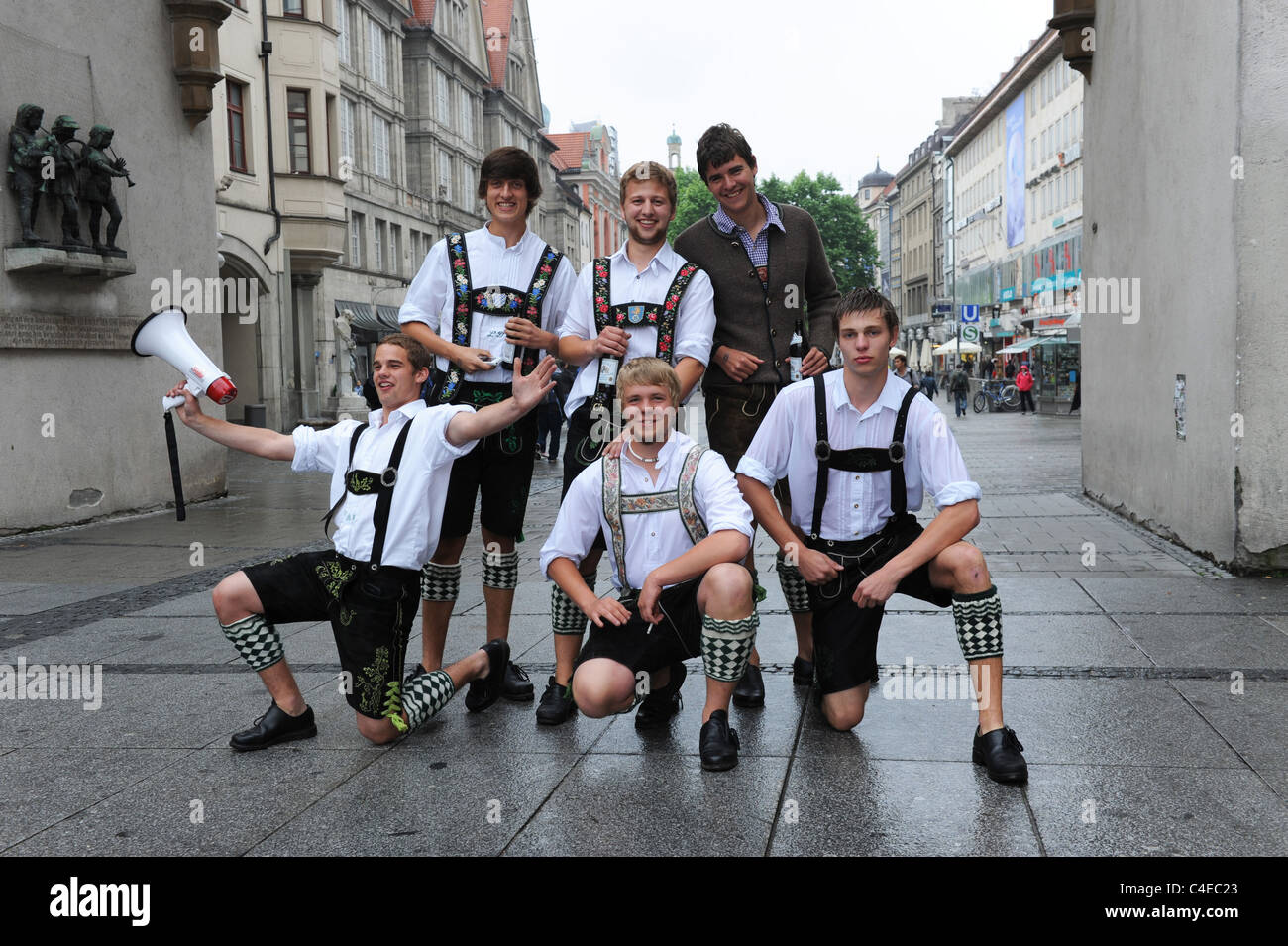Young Bavarian men celebrating fathers day Munich Bavaria Germany Munchen Deutschland - Stock Image