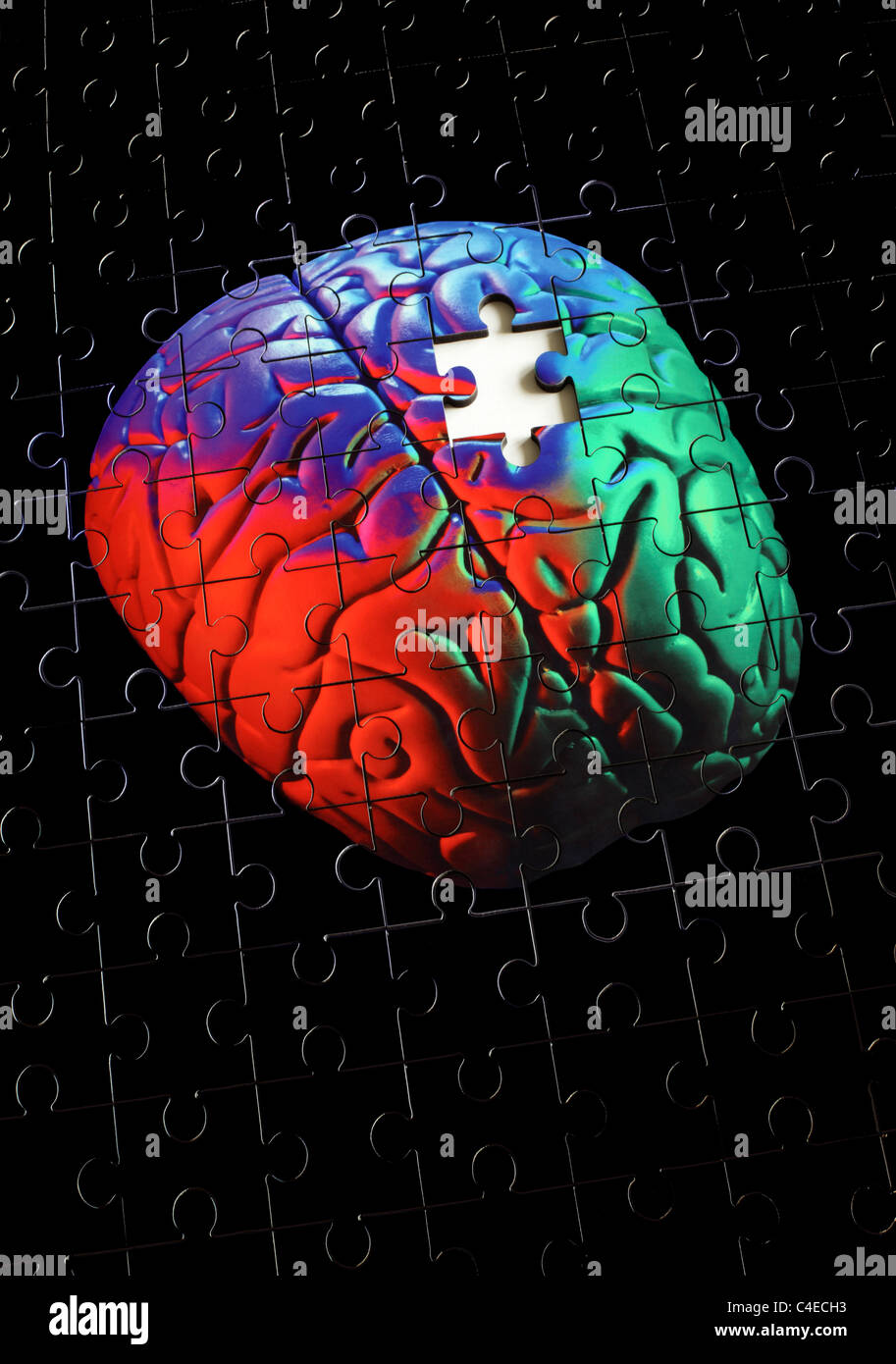 Photo of a jigsaw puzzle of a human (model) brain, with a jigsaw puzzle piece missing. - Stock Image