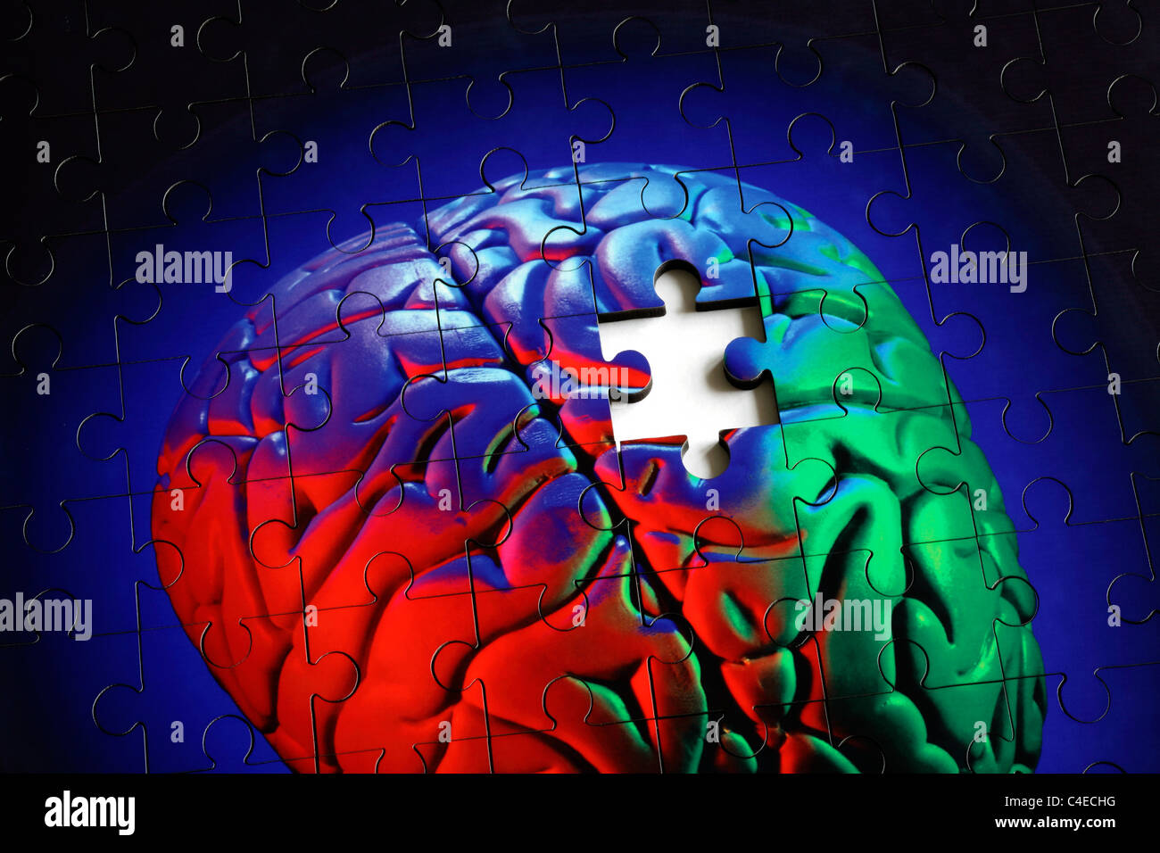Piece missing from a jigsaw puzzle made from a photo of a human (model) brain. - Stock Image
