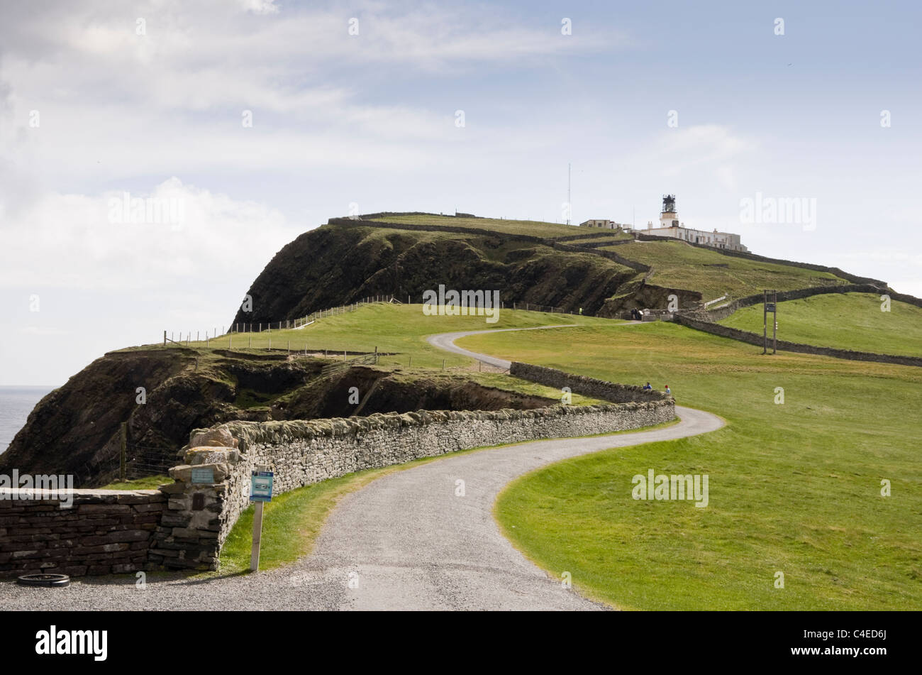 Sumburgh Head, Shetland Islands, Scotland, UK. View to RSPB nature reserve for seabirds breeding on seacliffs with - Stock Image