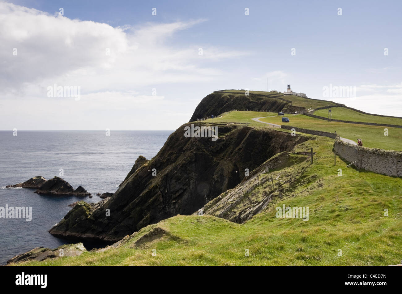 Sumburgh Head, Shetland Islands, Scotland, UK. View to RSPB nature reserve for seabirds breeding on sea cliffs with - Stock Image